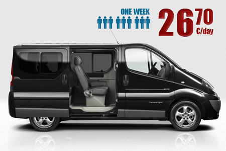 9 seats van at low price per day